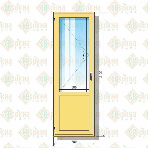 Дверь балконная деревянная бд осп 21-7 бл (2100х700 мм) одно.